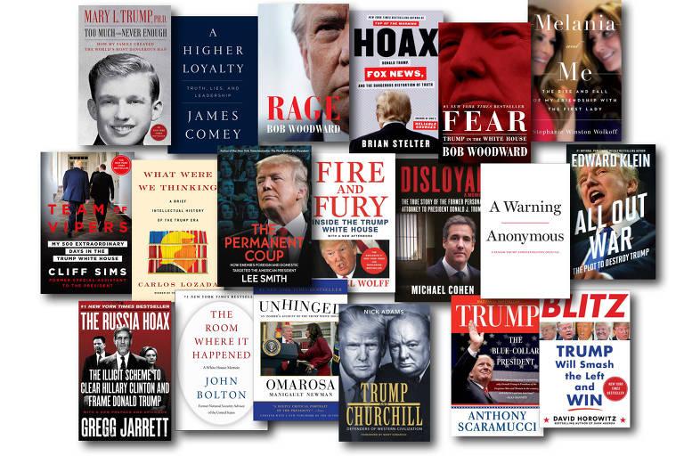 Montagem de capas de livros sobre Donald Trump