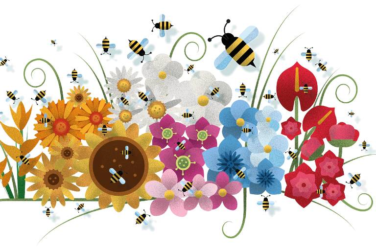 Abelhas nas flores