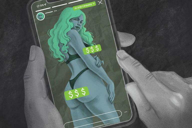 Ilustração em tons de preto e verde mostra mãos segurando um celular com a imagem de uma mulher de lingerie.Tarjas com cifrões escondem as partes mais explícitas