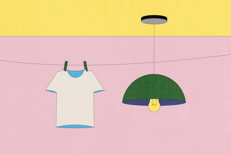 desenho de camiseta secando e lustre com lâmpada acesa