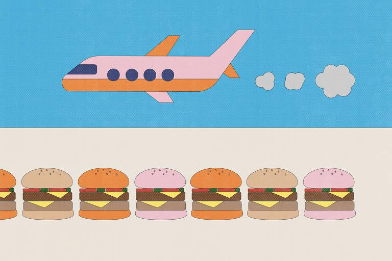 desenho de avião e hamburgueres