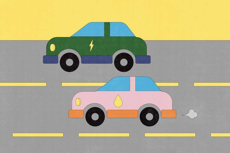 Desenho de dois automóveis em uma estrada