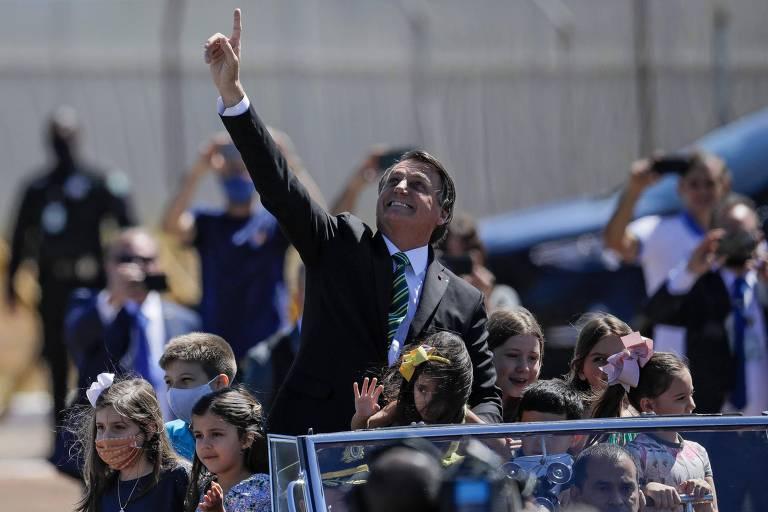 O presidente Jair Bolsonaro durante evento do Sete de Setembro, em Brasília
