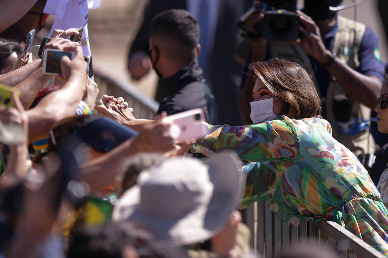 A primeira-dama Michelle Bolsonaro no evento do Sete de Setembro, no Alvorada