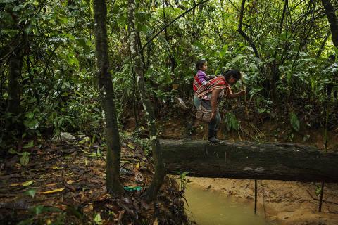 Cocaleira na trilha que dá acesso à sua plantação perto de Chimoré, na região do Chapare