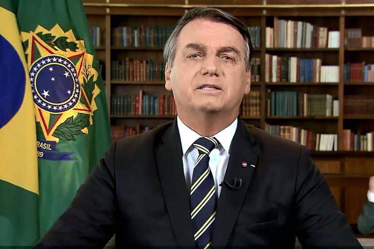 O presidente Jair Bolsonaro durante pronunciamento nesta segunda (7)