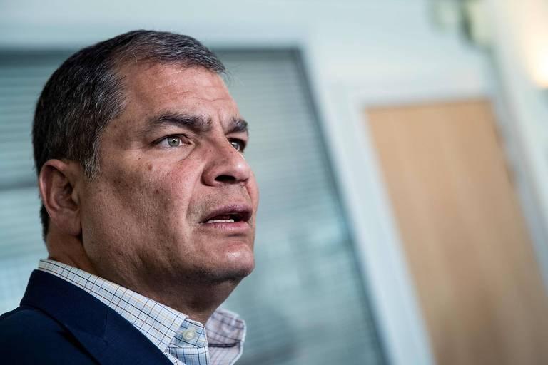 O ex-presidente do Equador Rafael Correa durante entrevista concendida em Bruxelas, onde vive