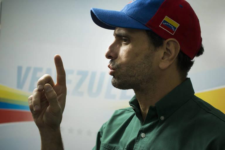 O opositor Henrique Capriles Radonski durante entrevista em Caracas, na Venezuela