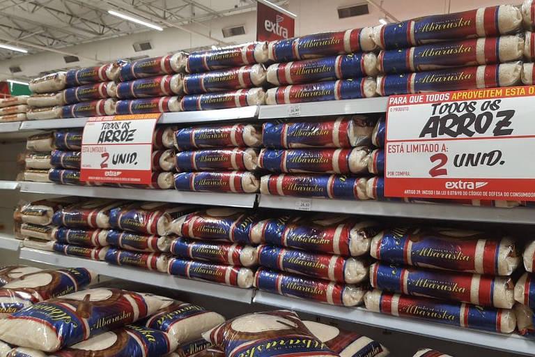 Arroz em alta nas gôndolas de supermercado
