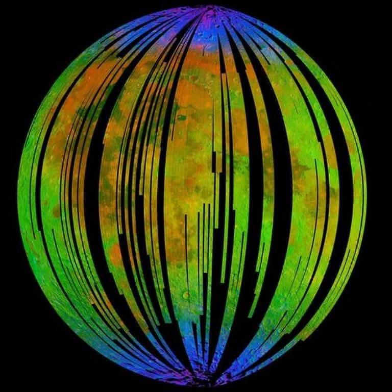 Imagem com diferentes cores mostra onde está o óxido de ferro na Lua