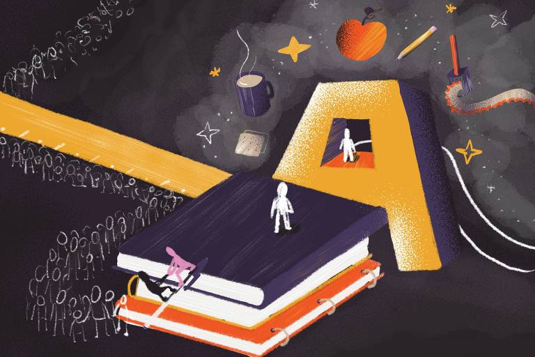 Ilustração de Carolina Daffara para reportagem sobre os nós de São Paulo/educação
