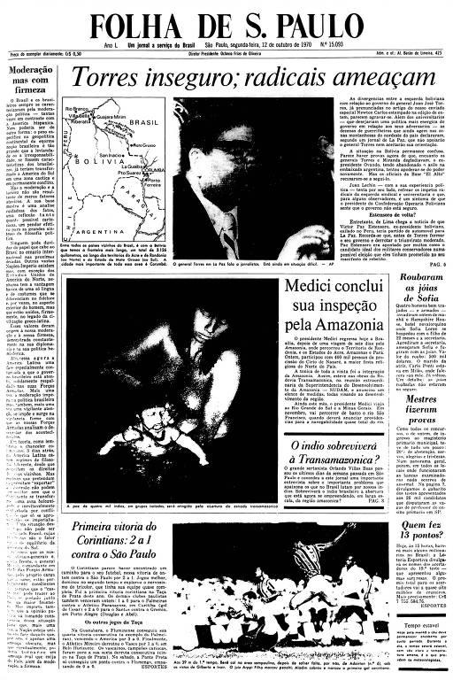 Primeira Página da Folha  de 12 de outubro de 1970