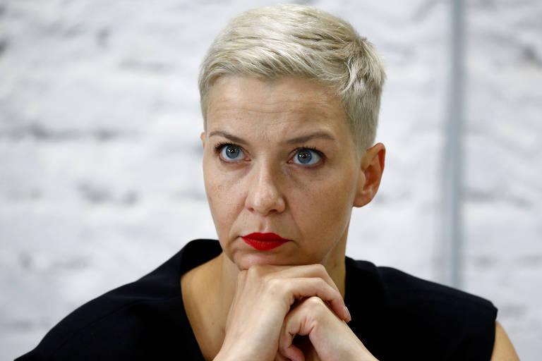 A líder opositora Maria Kalesnikava durante entrevista coletiva do conselho de transição, em Minsk, em agosto
