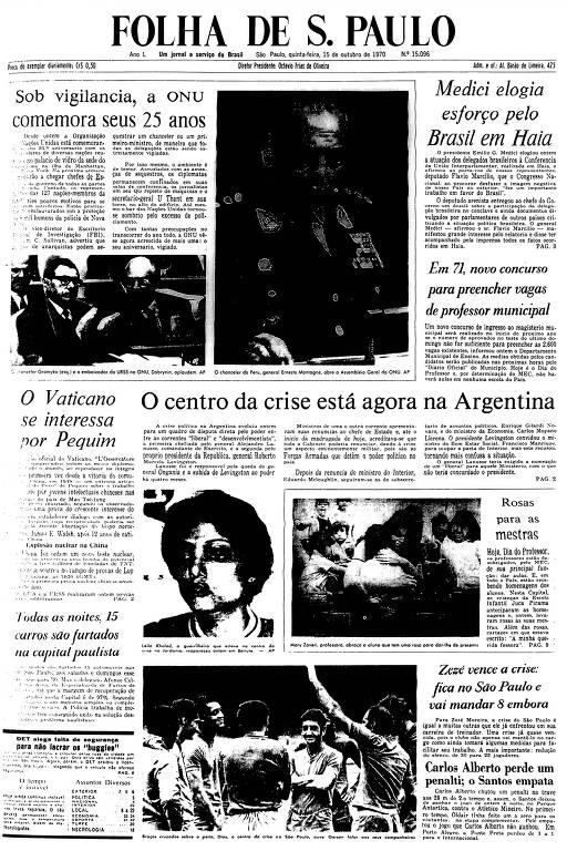 Primeira Página da Folha de 15 de outubro de 1970