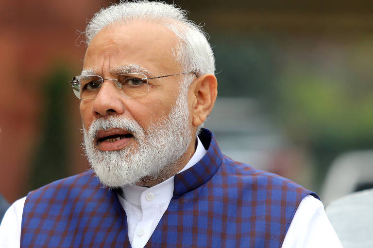 O primeiro-ministro indiano, Narendra Modi, em evento em Nova Déli