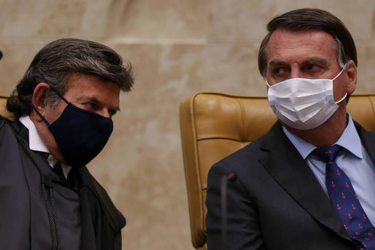Luiz Fux e Jair Bolsonaro em posse do novo presidente do Supremo