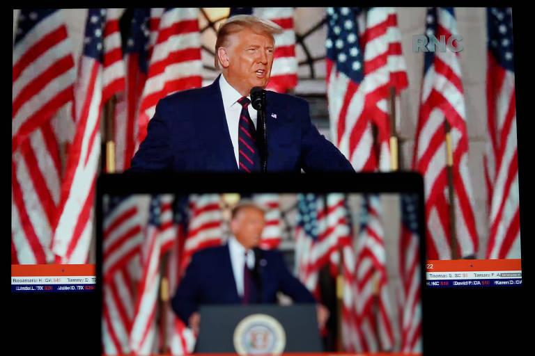 O presidente dos EUA, Donald Trump, na convenção nacional do Partido Republicano, em Arlington (Virginia); ele tentará a reeleição neste ano