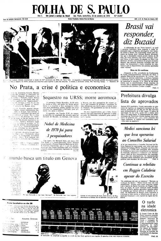 Primeira Página da Folha de 16 de outubro de 1970