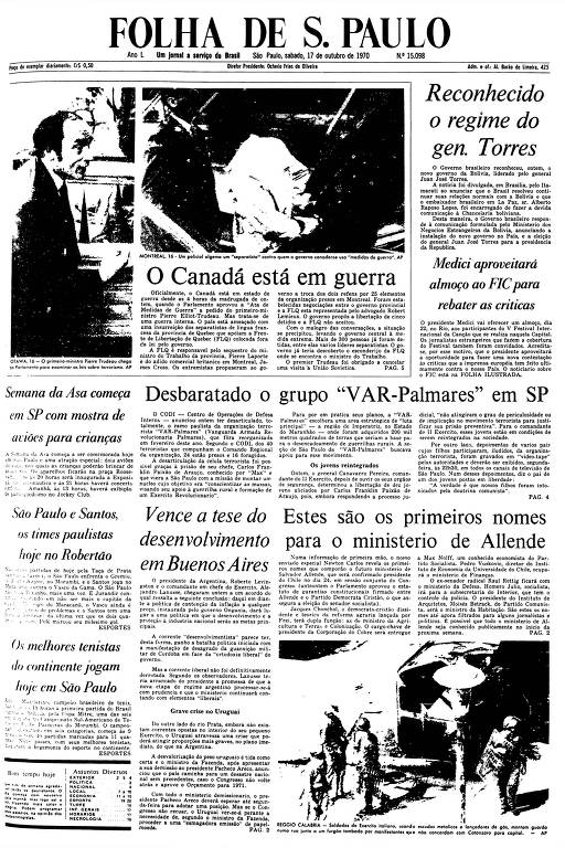 Primeira Página da Folha de 17 de outubro de 1970