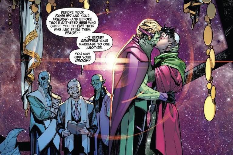 """Casamento dos heróis Hulkling e Wiccan em """"Empyre Aftermath: Avengers"""", da Marvel, lançado nos Estados Unidos"""