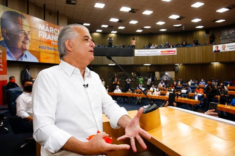 O ex-governador Márcio França oficializa sua candidatura a prefeito de São Paulo pelo PSB na eleição municipal de 2020, na convenção do PSB, na Câmara Municipal de São Paulo.