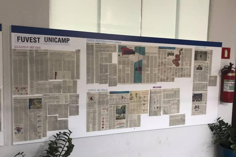 Mural do Colégio Fibonacci em Ipatinga (MG) com páginas da Folha