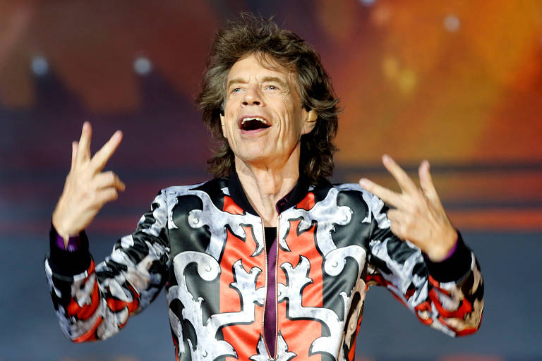 Mick Jagger durante show dos Rolling Stones
