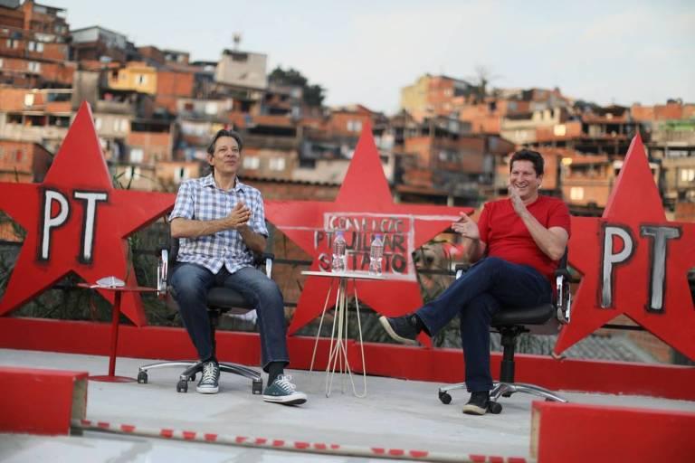 O ex-prefeito Fernando Haddad e o candidato do PT a prefeito, Jilmar Tatto, no evento que oficializou sua campanha em 2020