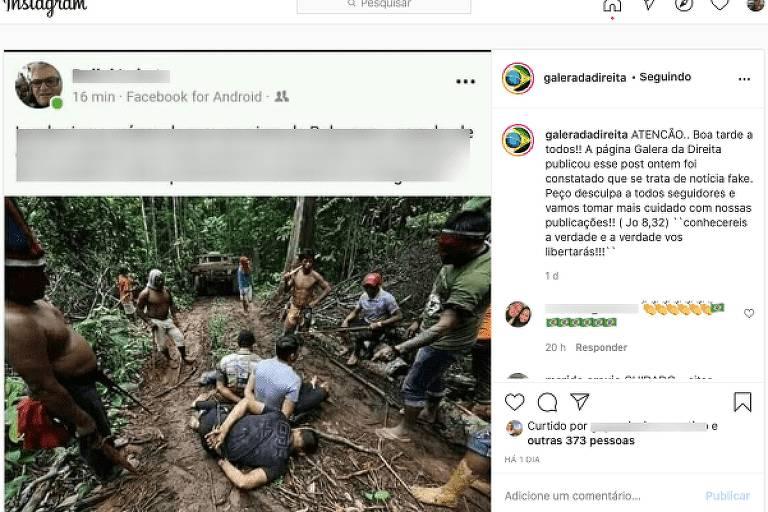 Foto do post com errata sobre o  sobre o uso incorreto da imagem que o fotógrafo Lunaé Parracho fez para a agência Reuters (a foto mostra índios em pé, detendo desmatadores)