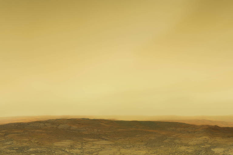Desenho mostra céu enevoado de laranja, com poeira suspensa, e terreno árido