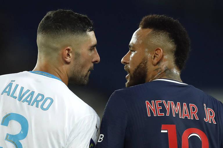 Álvaro e Neymar se estranharam durante o clássico entre PSG e Olympique