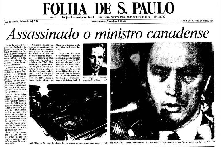 1970: Ministro de província canadense é morto após ter sido sequestrado