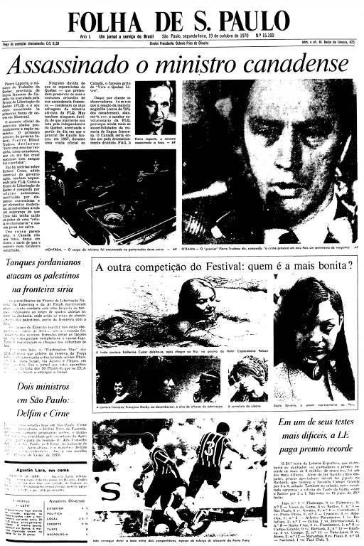 Primeira Página da Folha de 19 de outubro de 1970