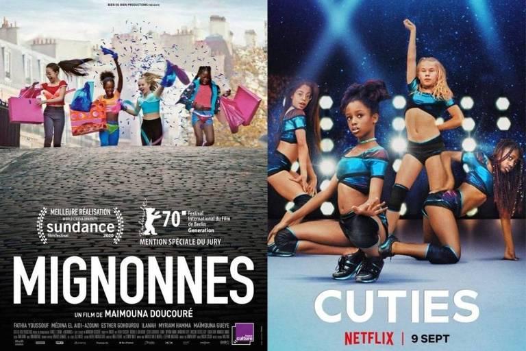 """À esquerda, imagem do cartaz original de divulgação do filme """"Lindinhas""""; à direita, o cartaz usado pela Netflix que gerou grande repercussão"""