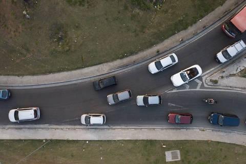 GUARULHOS -  SP - 12.09.2020 - Imagem do trevo de Bonsucesso, em Guarulhos.  (Foto Danilo Verpa/Folhapress, COTIDIANO)