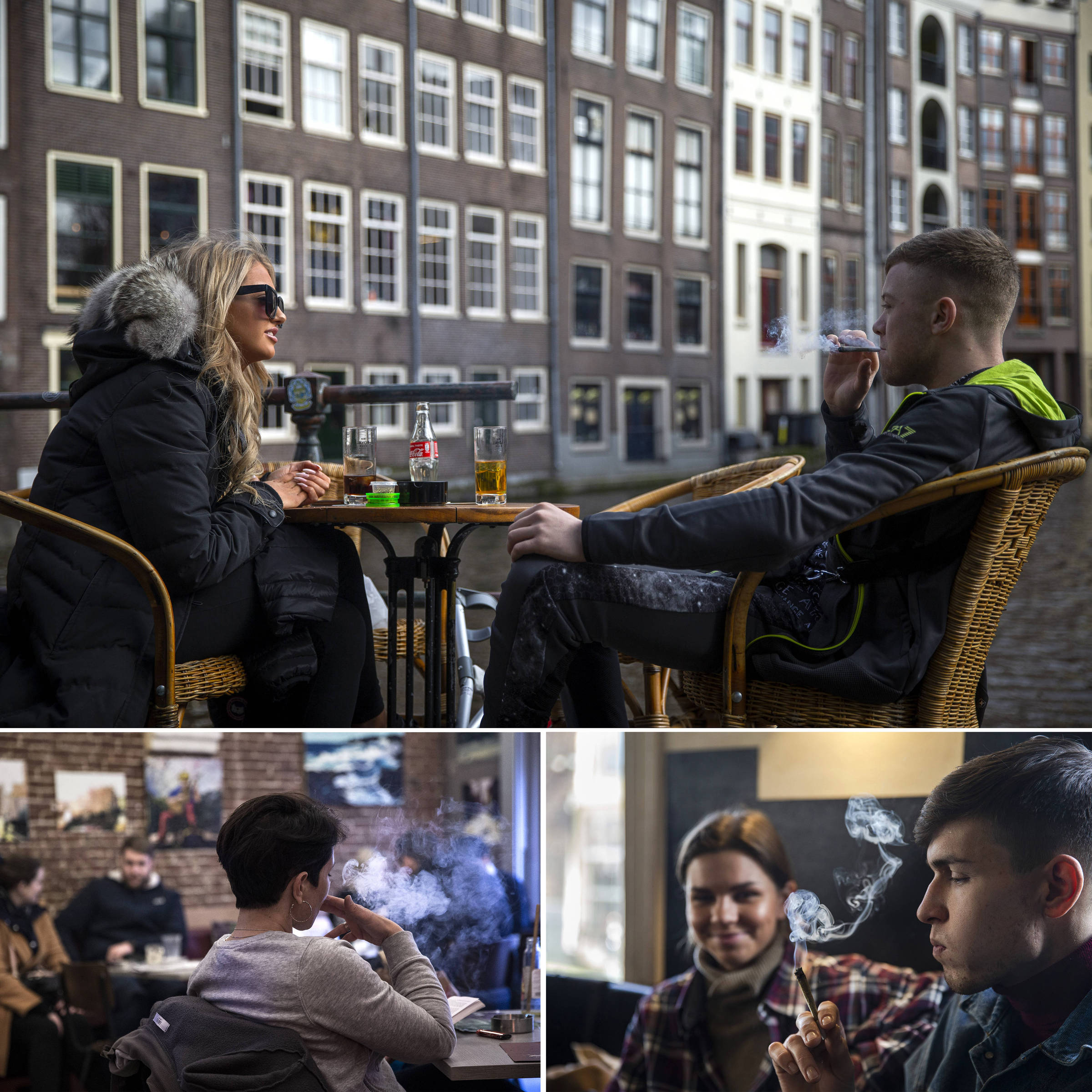 Jovens fumam maconha no centro (acima), e nos coffeeshops Paradox (abaixo à esq.) e Voyagers, em Amsterdã