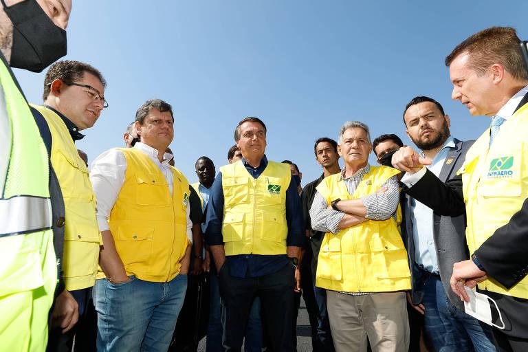 (São Paulo  - SP, 05/09/2020) Presidente da República Jair Bolsonaro, durante  Visita às obras de recuperação da pista principal do Aeroporto de Congonhas. Foto: Carolina Antunes/Divulgação Presidência