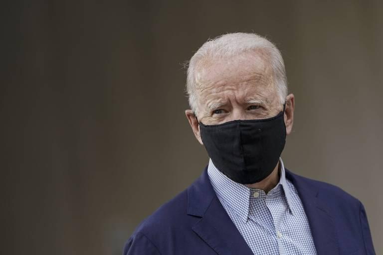 O candidato democrata Joe Biden em evento de campanha em Wilmington, Delaware