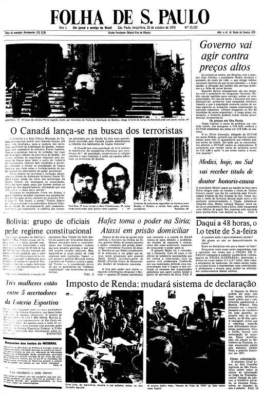 Primeira Página da Folha de 20 de outubro de 1970