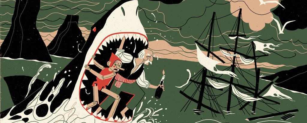 Pinóquio e Gepeto estão em pé dentro da boca de um tubarão, enquanto um navio aparece afundado