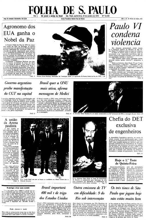 Primeira Página da Folha de 22 de outubro de 1970