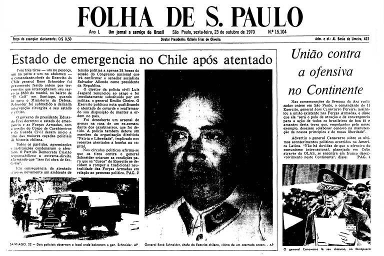1970: Antes de confirmação de vitória de Allende, militar chileno sofre atentado