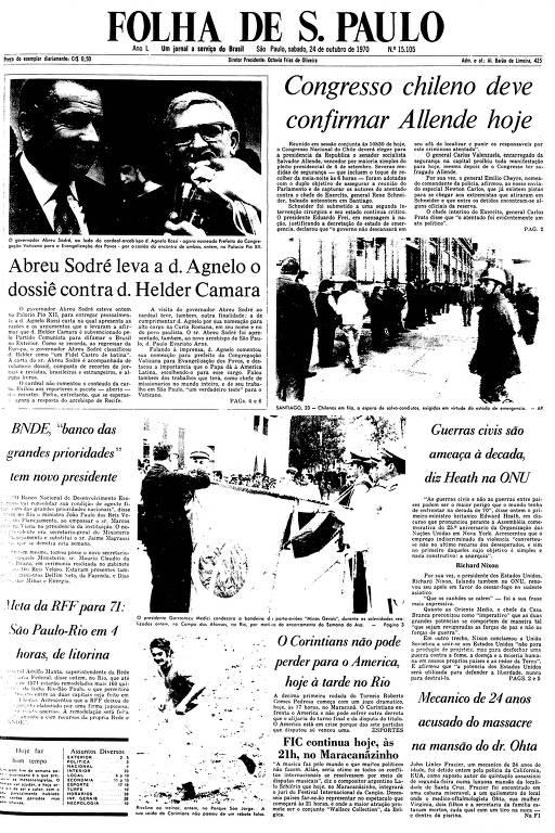 Primeira Página da Folha de 24 de outubro de 1970
