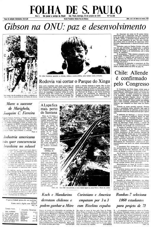 Primeira Página da Folha de 25 de outubro de 1970