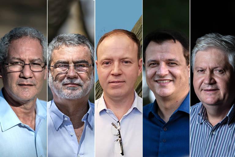 imagens de cinco homens, todos olhando para a câmera