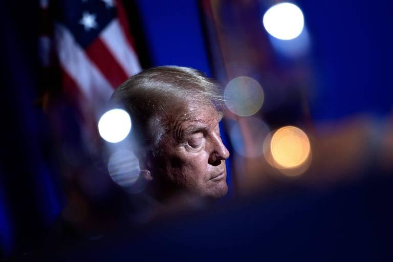 O presidente dos EUA, Donald Trump, durante evento de campanha em Phoenix, no Arizona