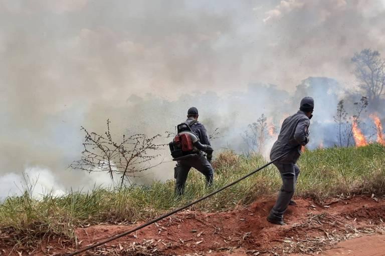 Bombeiros apagam incêndio em reserva de Mata Atlântica em Bauru