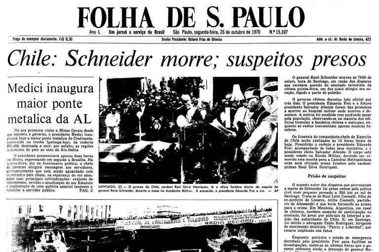 1970: Morre o chefe do Exército do Chile, baleado antes da vitória de Allende