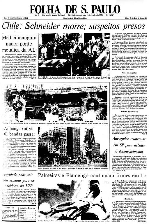 Primeira Página da Folha de 26 de outubro de 1970