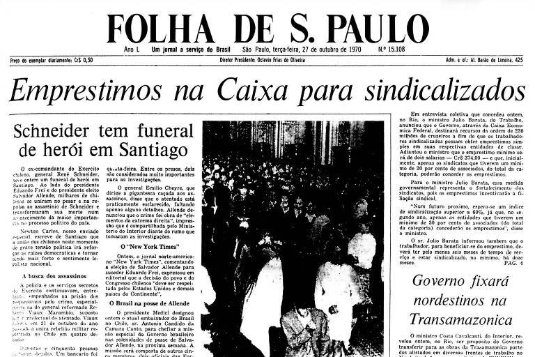 1970: Morto em atentado, general chileno tem funeral de herói em Santiago
